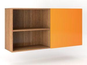 Шкаф навесной 2 двери распашные с Tip-On + ниша горизонтально