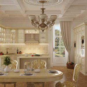 кухни классика Валенсия Шервуд белое с золотом