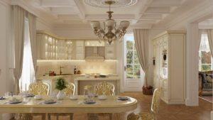 кухня классика Валенсия Шервуд белое с золотом